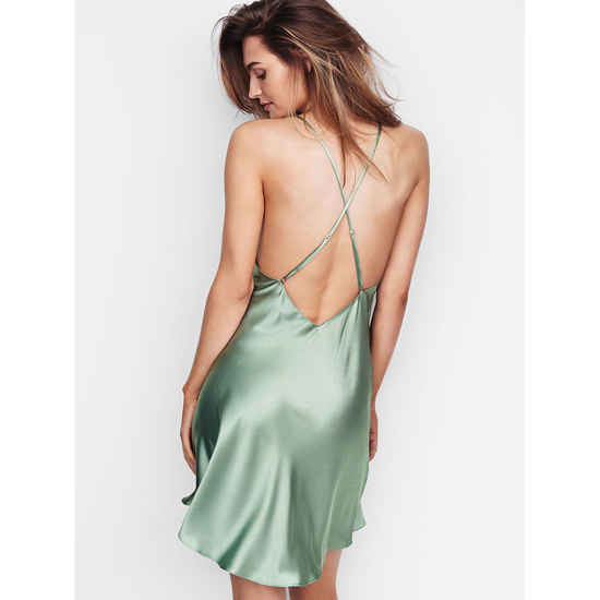 Cheap VICTORIA\'S SECRET Silver Sea NEW! Crossback Satin Slip Online