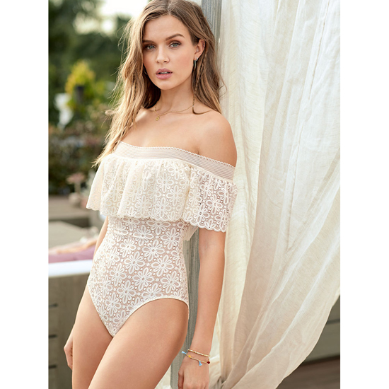Cheap VICTORIA\'S SECRET White NEW! Off-the-shoulder Lace Bodysuit Online