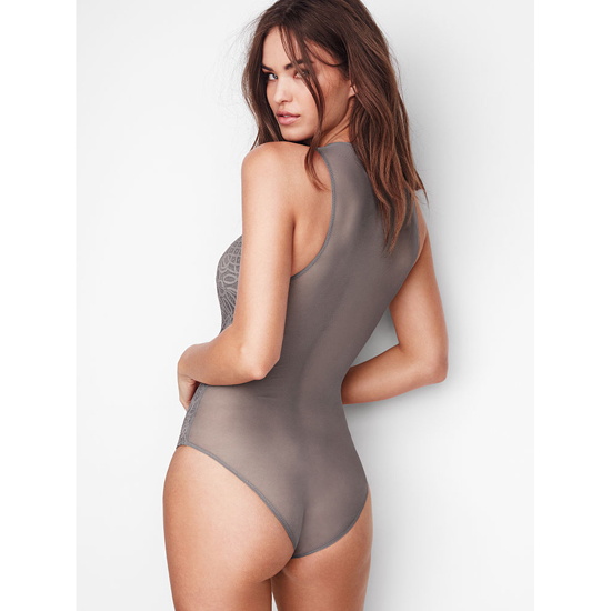 Cheap VICTORIA\'S SECRET Sterling Pewter NEW! Lace & Mesh Bodysuit Online