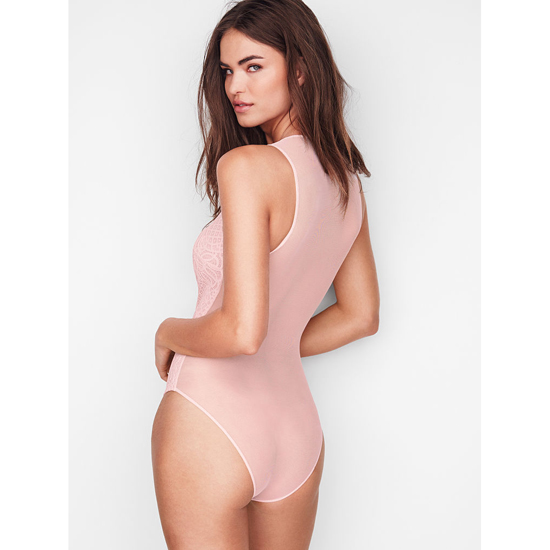 Cheap VICTORIA\'S SECRET Sheer Pink NEW! Lace & Mesh Bodysuit Online