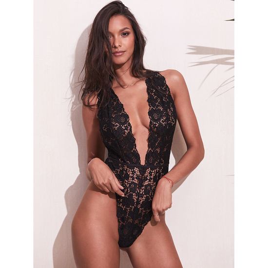 Cheap VICTORIA\'S SECRET Black NEW! Crossback Lace Plunge Teddy Online