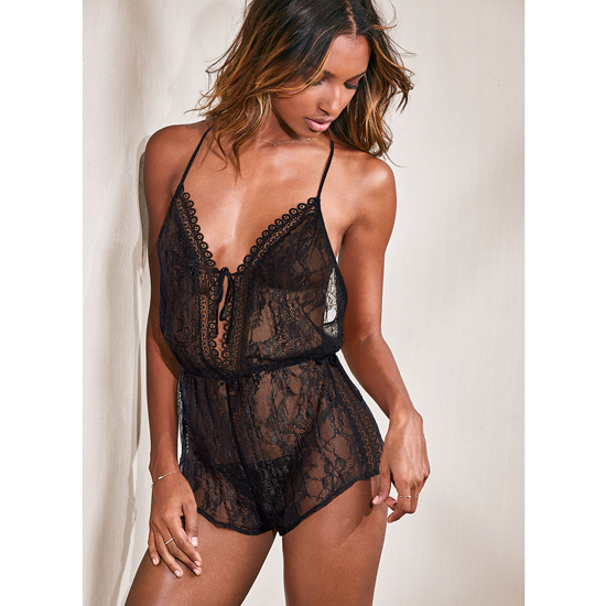 Cheap VICTORIA'S SECRET Black NEW! Lace Romper Online