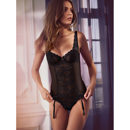 Cheap VICTORIA'S SECRET Black Lace & Mesh Teddy Online