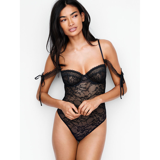 Cheap VICTORIA'S SECRET Black NEW! Lace Off-the-shoulder Bodysuit Online