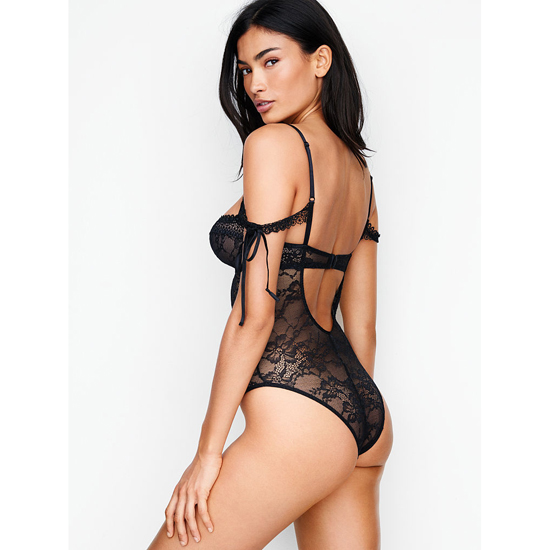 Cheap VICTORIA\'S SECRET Black NEW! Lace Off-the-shoulder Bodysuit Online