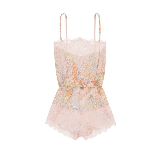 Cheap VICTORIA\'S SECRET Pink Floral W/ Pink Ivory Lace NEW! Crochet Lace Romper Online