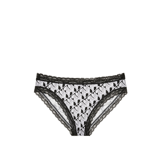 Cheap VICTORIA\'S SECRET Black And White Heart Print NEW! Lace-trim High-leg Brief Panty Online