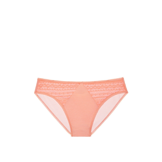 Cheap VICTORIA\'S SECRET Lip Smacker Peach Skinny Stripe NEW! Diamond Lace High-Leg Brief Panty Online