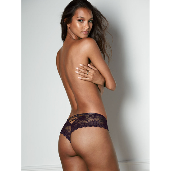 Cheap VICTORIA'S SECRET Black NEW! Strappy Lace Cheeky Panty Online