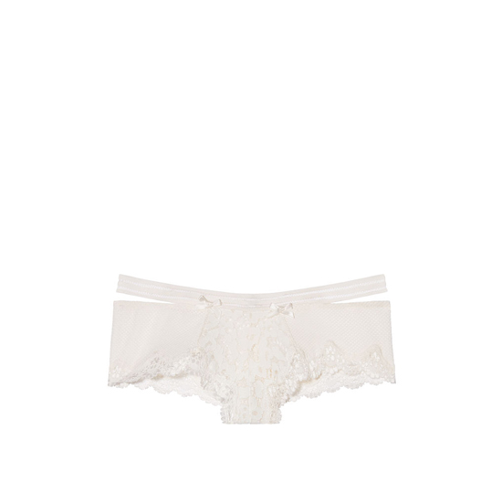 Cheap VICTORIA\'S SECRET Coconut White Lace & Fishnet Banded Cheeky Panty Online