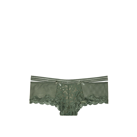 Cheap VICTORIA\'S SECRET Cadette Green Lace & Fishnet Banded Cheeky Panty Online