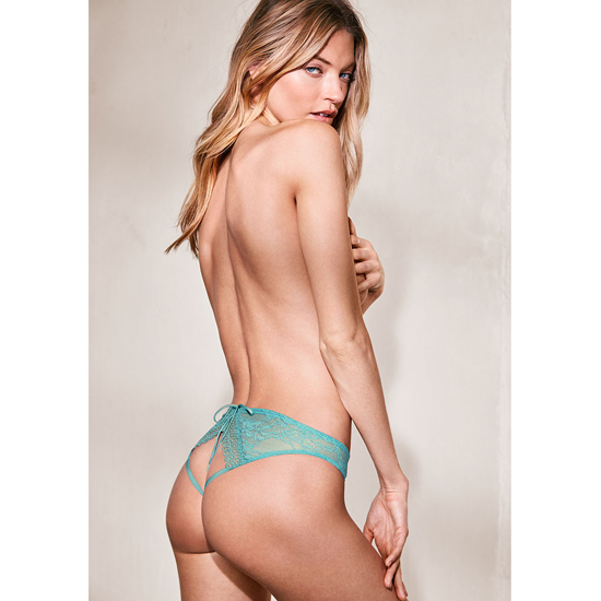 Cheap VICTORIA\'S SECRET Cozumel Teal Crochet Peek-A -Boo Cheekini Panty Online