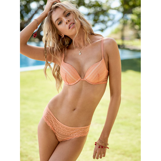 Cheap VICTORIA\'S SECRET Lip Smacker Peach Lace Cheeky Panty Online
