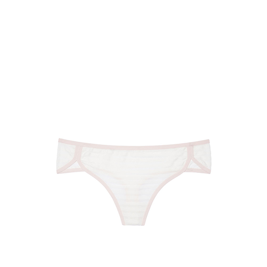 Cheap VICTORIA\'S SECRET Coconut White Shadow Stripe NEW! Curved-hem Thong Panty Online