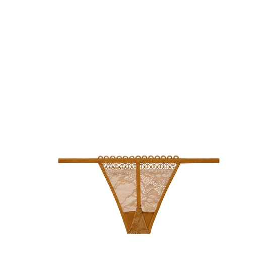 Cheap VICTORIA\'S SECRET Bronze Brown NEW! Crochet trim and lace V-string panty Online