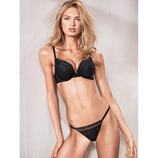 Cheap VICTORIA\'S SECRET Black NEW! Crochet trim and lace V-string panty Online