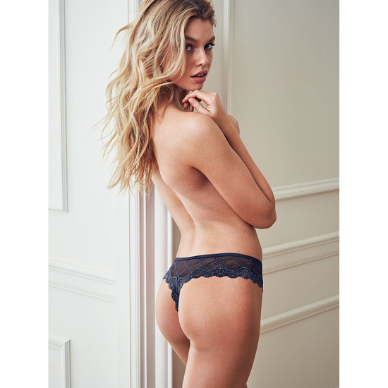 Cheap VICTORIA\'S SECRET Ensign Blue Plaid Lace-trim Thong Panty Online