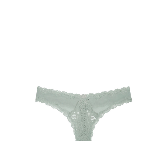 Cheap VICTORIA\'S SECRET Silver Sea NEW! Lace-trim Thong Panty Online