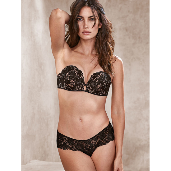 Cheap VICTORIA\'S SECRET Black NEW! Floral Lace Thong Panty Online