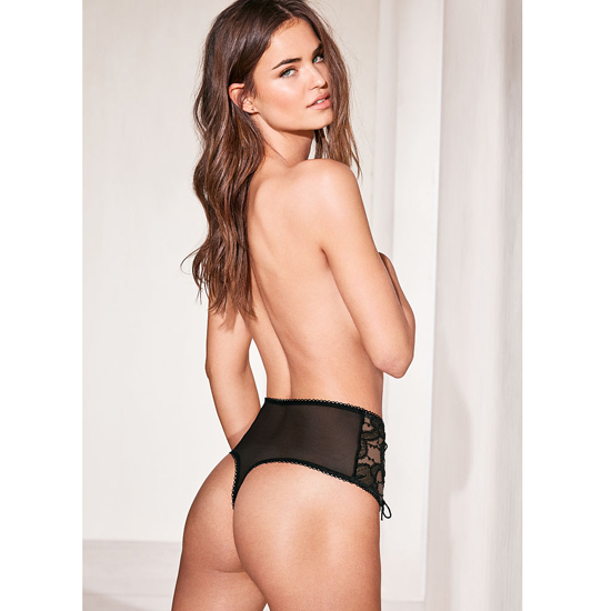 Cheap VICTORIA\'S SECRET Black NEW! Lace High-waist Thong Panty Online