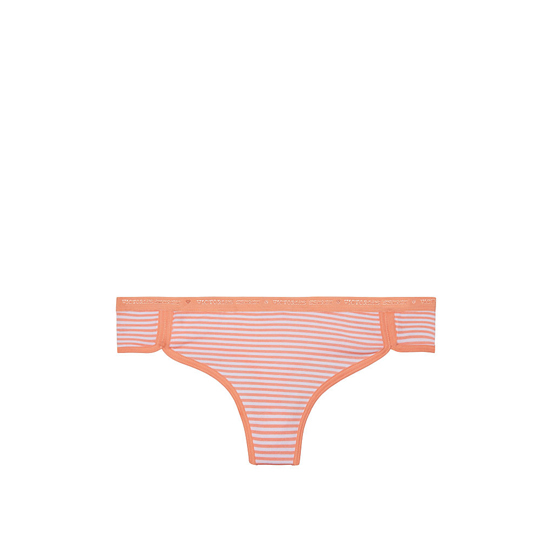 Cheap VICTORIA\'S SECRET Lip Smacker Peach Stripe NEW! Curved-hem Thong Panty Online