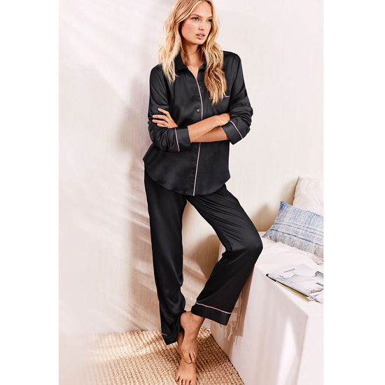 Cheap VICTORIA\'S SECRET Black NEW! The Afterhours Satin Pajama Online