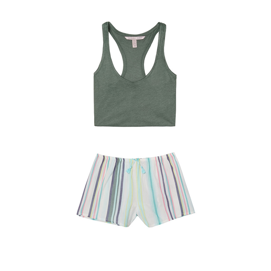 Cheap VICTORIA\'S SECRET Cadette Green/Cadette Green Stripe NEW! The Mayfair Tank & Short Set Online