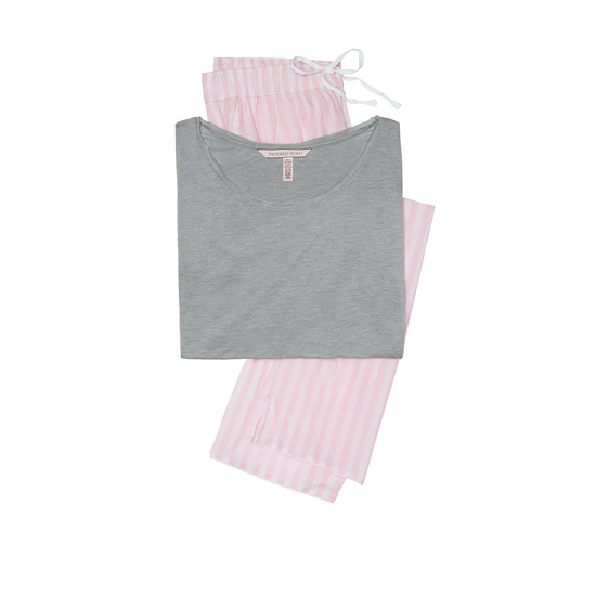 Cheap VICTORIA\'S SECRET Medium Heather Grey/Pink Stripe NEW! The Mayfair Tee-jama Online