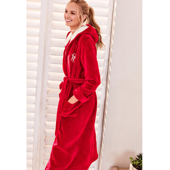 Cheap VICTORIA\'S SECRET Bright Cherry NEW! The Cozy Hooded Long Robe Online