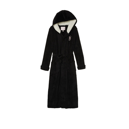 Cheap VICTORIA'S SECRET Black NEW! The Cozy Hooded Long Robe Online