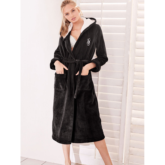 Cheap VICTORIA\'S SECRET Black NEW! The Cozy Hooded Long Robe Online