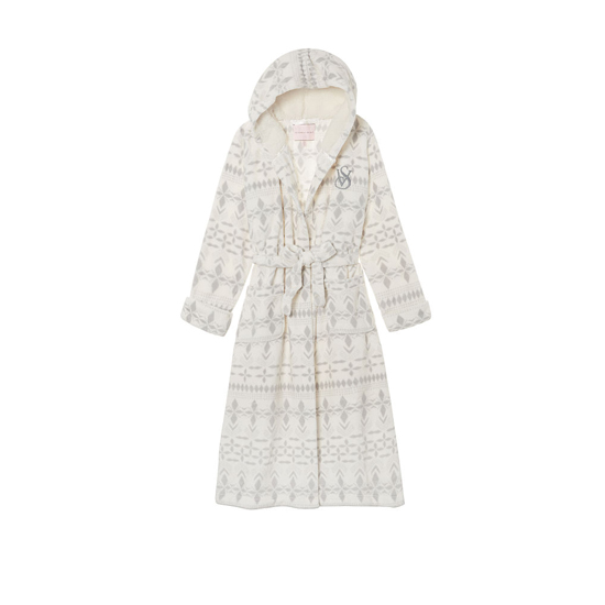 Cheap VICTORIA\'S SECRET Ivory Exploded Fairisle NEW! The Cozy Hooded Long Robe Online