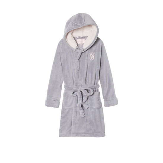 Cheap VICTORIA\'S SECRET Grey Oasis NEW! The Cozy Hooded Short Robe Online