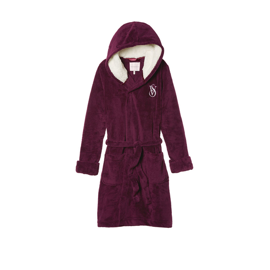 Cheap VICTORIA\'S SECRET Ruby Wine NEW! The Cozy Hooded Short Robe Online
