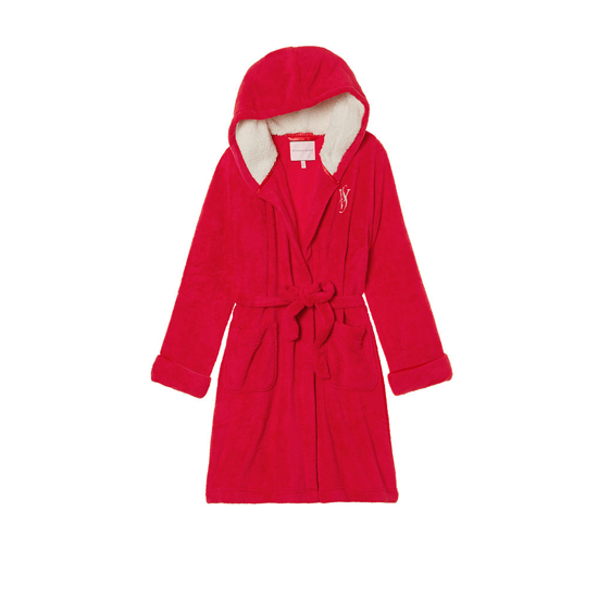 Cheap VICTORIA\'S SECRET Bright Cherry NEW! The Cozy Hooded Short Robe Online