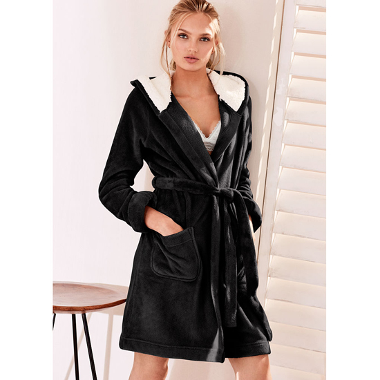 Cheap VICTORIA\'S SECRET Black NEW! The Cozy Hooded Short Robe Online