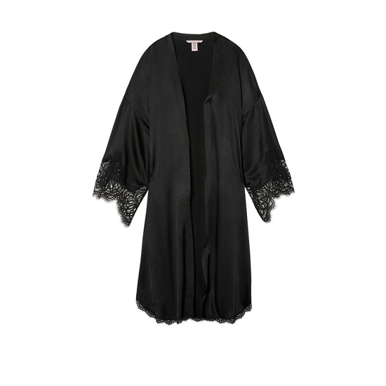 Cheap VICTORIA\'S SECRET Black NEW! Lace-trim Satin Robe Online