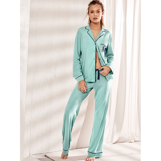 Cheap VICTORIA\'S SECRET Cozumel Teal NEW! The Sleepover Knit Pajama Online