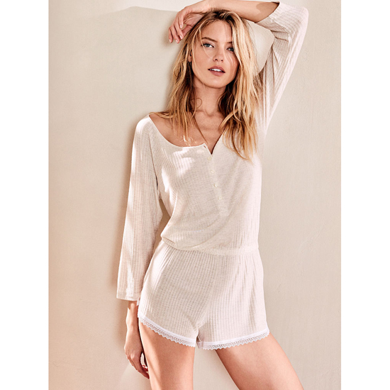 Cheap VICTORIA\'S SECRET Natural Heather NEW! Ribbed Sleep Romper Online