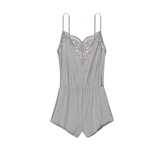 Cheap VICTORIA\'S SECRET Sterling Pewter NEW! Supersoft Crochet-trim Sleep Romper Online