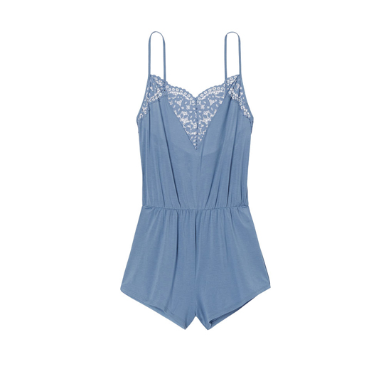 Cheap VICTORIA\'S SECRET Faded Denim NEW! Supersoft Crochet-trim Sleep Romper Online