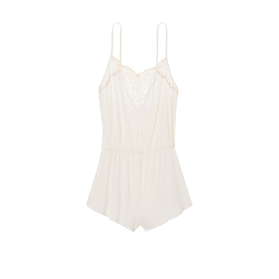 Cheap VICTORIA\'S SECRET Coconut White NEW! Supersoft Crochet-trim Sleep Romper Online