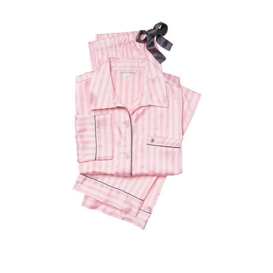 Cheap VICTORIA\'S SECRET Pink Stripe NEW! The Afterhours Satin Pajama Online