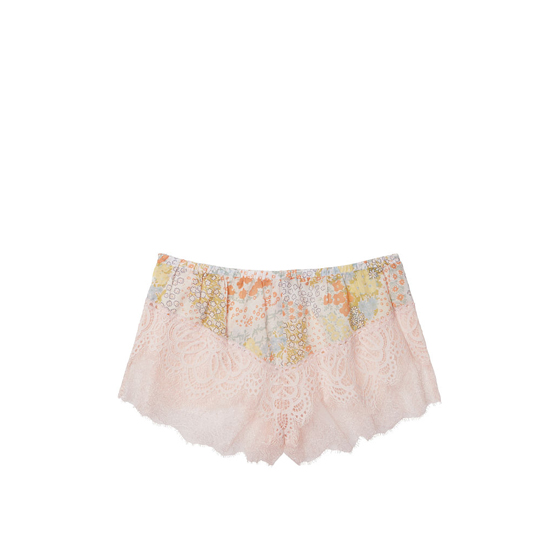 Cheap VICTORIA\'S SECRET Pink Floral W/ Pink Ivory Lace NEW! Crochet Lace Short Online