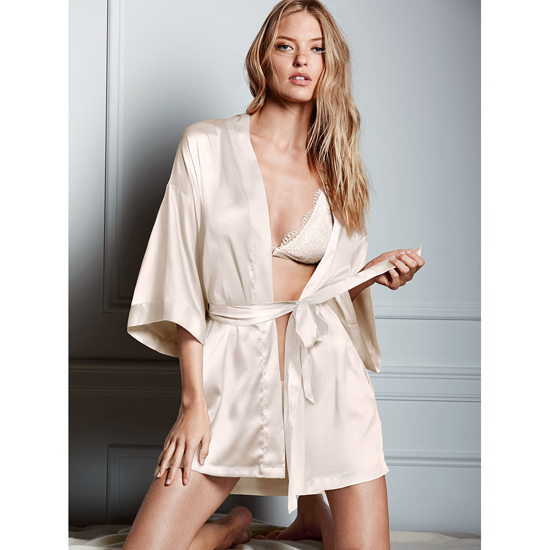 Cheap VICTORIA\'S SECRET Coconut White NEW! Satin Kimono Online
