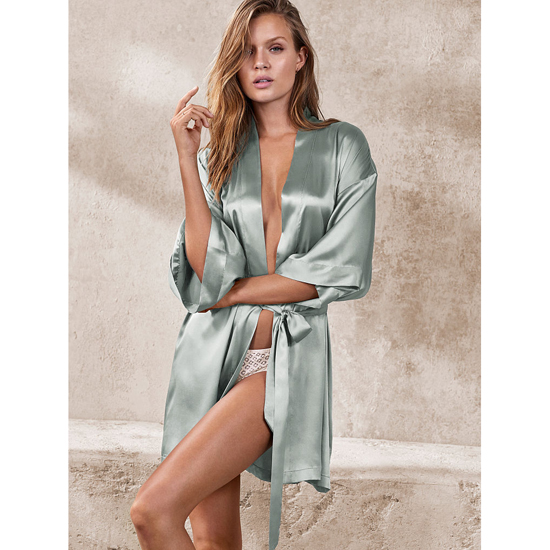 Cheap VICTORIA\'S SECRET Silver Sea NEW! Satin Kimono Online