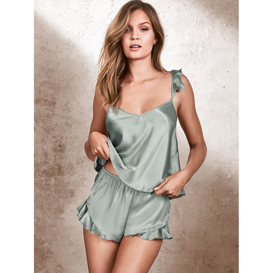 Cheap VICTORIA'S SECRET Silver Sea NEW! Satin Cami & Short Set Online