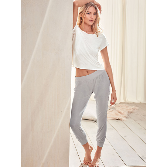 Cheap VICTORIA\'S SECRET Glacier Grey NEW! Ribbed Sleep Jogger Online