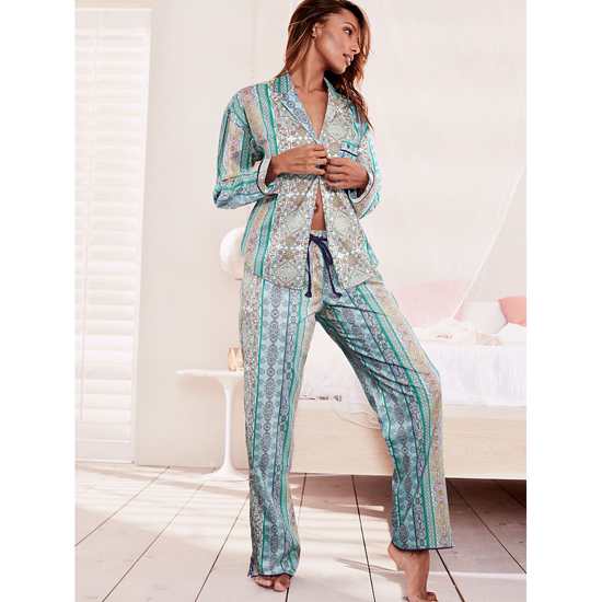 Cheap VICTORIA\'S SECRET Green/Blue Paisley Stripe NEW! The Mayfair Pajama Online