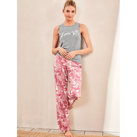 Cheap VICTORIA\'S SECRET Medium Heather Grey/Rosy Mauve Floral NEW! The Pillowtalk Tank Pajama Online